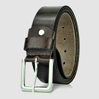 Mens Brown Square Buckle Genuine Leather Belt