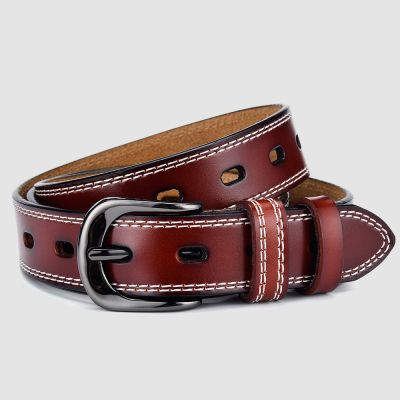 Womens Burgundy Leather Belt with White Stiching