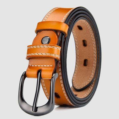 Womens Tan Leather Belt with White Stiching