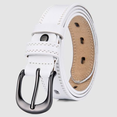 Womens White Leather Belt with Stiching