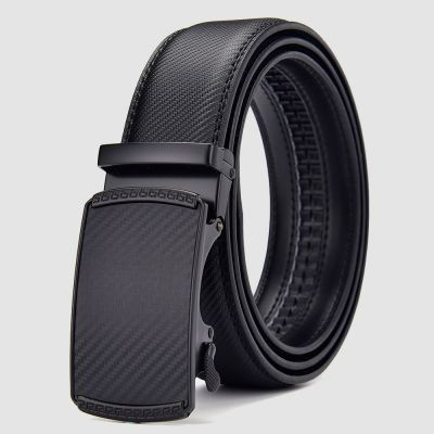Mens Black Italian Leather Automatic Sliding Buckle Belt with Gift Bag