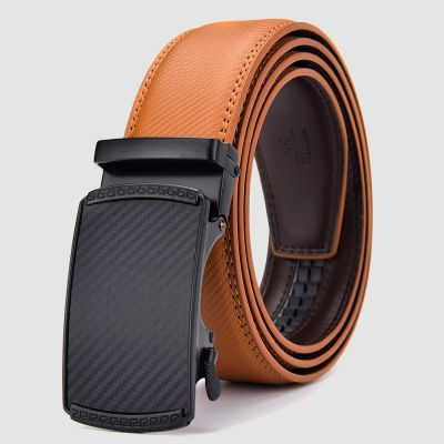 Mens Orange Tan Italian Leather Automatic Sliding Buckle Belt with Gift Bag