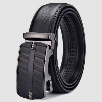 Mens Black Italian Leather Automatic Sliding Buckle Suit Belt with Gift Bag