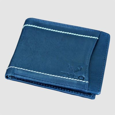Blue Bifold RFID Leather Slim Card Holder Wallet With Gift Box