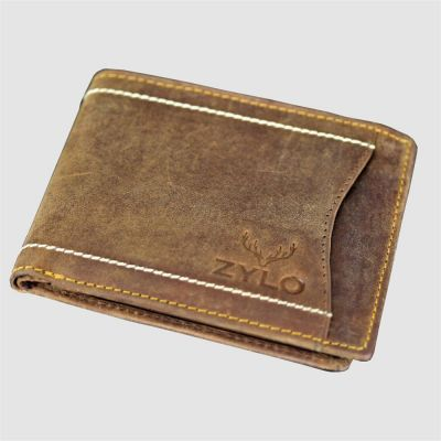 Brown Bifold RFID Leather Slim Card Holder Wallet With Gift Box