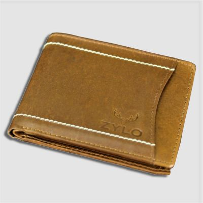 Tan Bifold RFID Leather Slim Card Holder Wallet With Gift Box