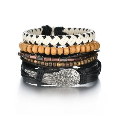 Mens Leather Bracelet One By One