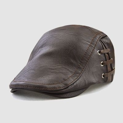 Men's Dark Brown Fashion Duck Tongue Leather Cap