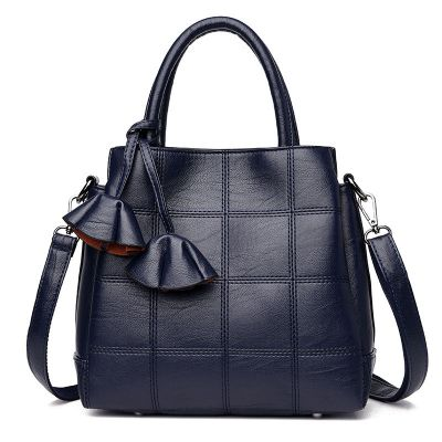 Womens Blue Soft Leather Large Capacity Handbag