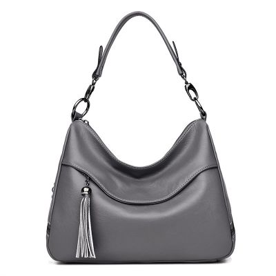 Womens Grey Soft Leather Large Capacity Slant Handbag