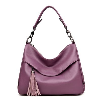Womens Pink Soft Leather Large Capacity Slant Handbag