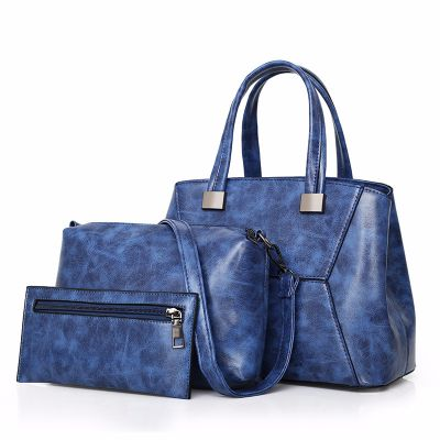 Womens Blue Fashion Leather Large Capacity Slant Handbag 3Pcs Set