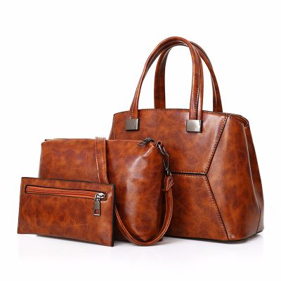 Womens Brown Fashion Leather Large Capacity Slant Handbag 3Pcs Set