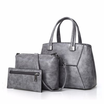 Womens Grey Fashion Leather Large Capacity Slant Handbag 3Pcs Set