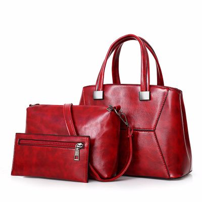 Womens Red Fashion Leather Large Capacity Slant Handbag 3Pcs Set