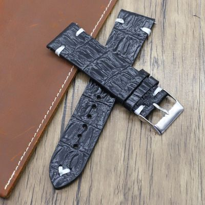 Black Handmade Crocodile Texture Leather Watch Straps