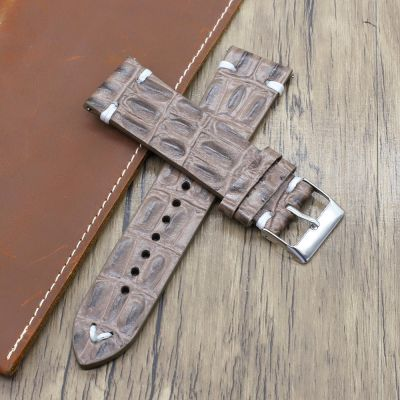 Brown Handmade Crocodile Texture Leather Watch Straps