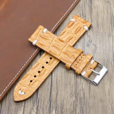 TAN Handmade Crocodile Texture Leather Watch Straps