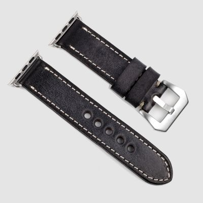 Black Handmade Vintage Leather Apple Watch Straps