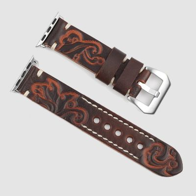 Brown Engraved Leather Apple Watch Straps
